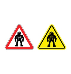 Warning sign astronaut Hazard yellow sign cosmic vector image
