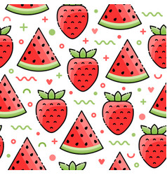 Watermelon strawberry seamless pattern vector