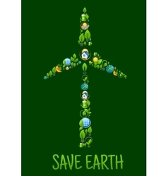 Wind turbine with eco power and green energy icons vector image