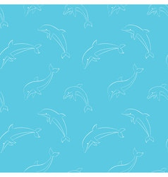 seamless pattern with playing dolphins vector image