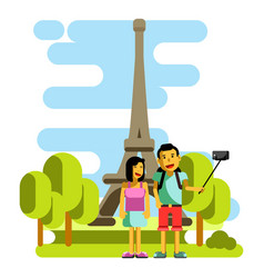 Young couple taking selfie near eiffel tower vector