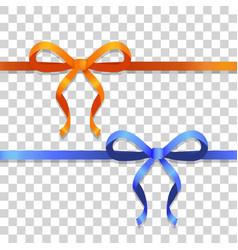 orange and blue narrow ribbons with bright bows vector image