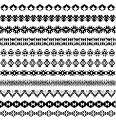Set of geometric black borders in ethnic style vector
