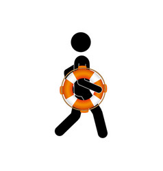 black silhouette pictogram male with lifeguard vector image