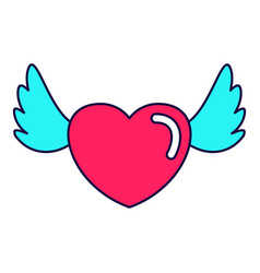 heart love wings vector image