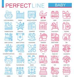 Baby care toys kid feeding concept symbols vector