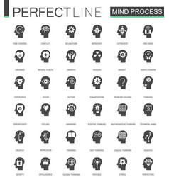 Black classic mind process features web icons set vector