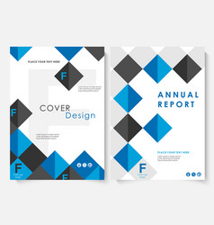 Blue square annual report cover design template vector