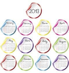 2013 calendar vector image vector image