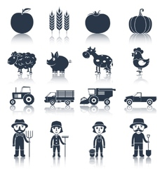 Farm icons set black vector