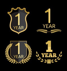 Anniversary set 1 year resize vector image