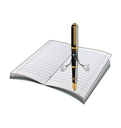 Fountain pen cartoon character with notebook vector