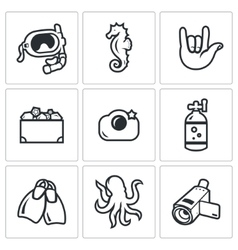 Diving icons set vector