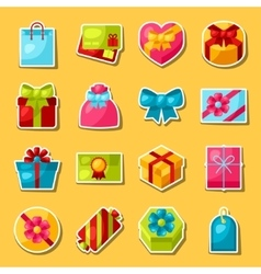 Celebration sticker set of colorful gift boxes vector