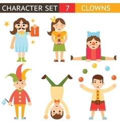 Clown 1 april joke fun boys girls characters icon vector