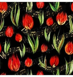 Bright seamless pattern with oil painted red tulip vector
