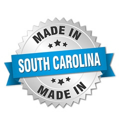 Made in south carolina silver badge with blue vector