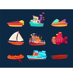 Water transport toy icon collection vector