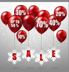 Balloons and discounts on sale background vector
