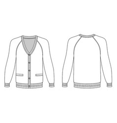 Blank long sleeve cardigan vector