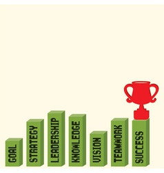 Business graph with business text and trophy vector
