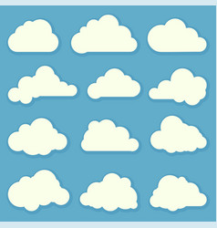 clouds flat design elements set vector image vector image