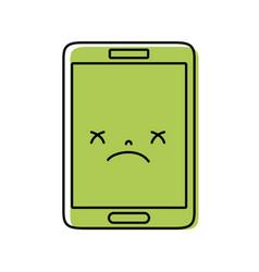 Color kawaii smartphone cute gloomy face vector