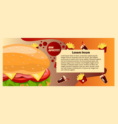 colorful banner fast food template text vector image
