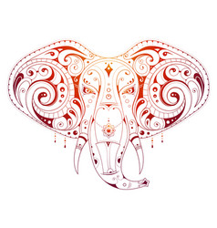 elephant head ornamental vector image vector image