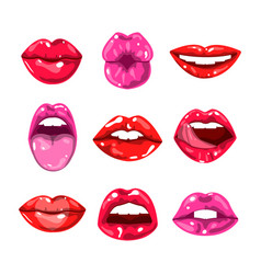 female glossy colored lips that kiss and show vector image vector image