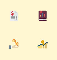 flat icons book net income duty and other vector image vector image