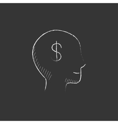 Head with dollar symbol drawn in chalk icon vector
