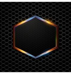 Hi-tech metallic background with hexagonal frame vector
