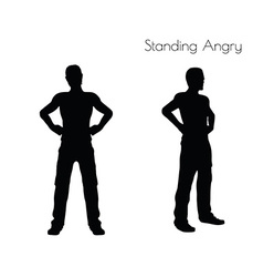Man in standing angry pose on white background vector