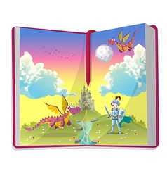 Open book about young knight and two dragons vector image vector image