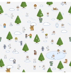 Pixel art christmas pattern vector