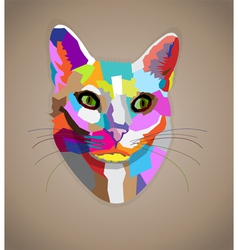 Pop art colorful cat vector image vector image