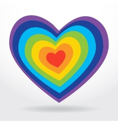 Rainbow striped heart on white background vector