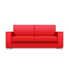 Red leather realistic sofa for modern living room vector image vector image