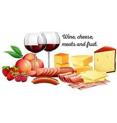 Red wine with meats and cheese vector