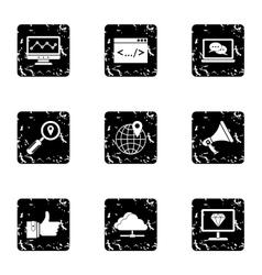 Seo icons set grunge style vector