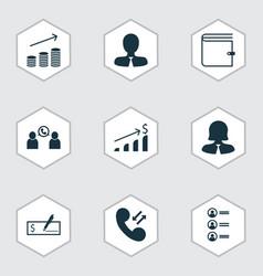 Set of 9 management icons includes job applicants vector
