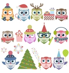 Set of christmas owls vector