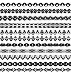 set of geometric black borders in ethnic style vector image vector image