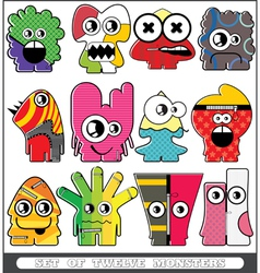 Set of twelve monsters vector image vector image