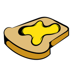 Slice of bread with honey icon icon cartoon vector