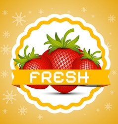Strawberry Fresh Strawberries Retro Label vector image vector image