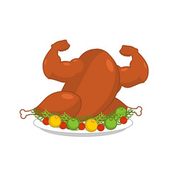 Strong turkey on plate with garnish vector image vector image