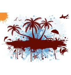 summer frame with palm tree dolphin crab starfish vector image