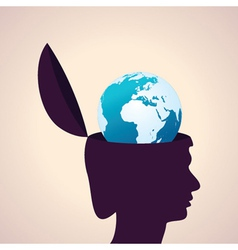 Thinking concept-human head with earth icon vector